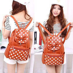 Polka Dots Bowknot Girls School Backpack - Oh Yours Fashion - 1