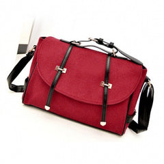 New Fashion Women's Wool & Faux Leather Tote Shoulder Bag Messenger Cross Body Handbag - Oh Yours Fashion - 5