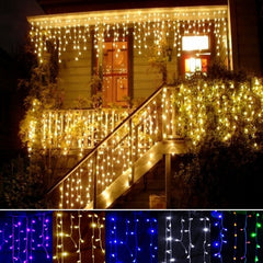 3.5m Droop 0.3-0.5m EU Plug Curtain Icicle String Lights 220V New Year Christmas LED Lights Garden Xmas Wedding Party - Oh Yours Fashion - 1