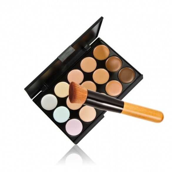 15 Colors Neutral Makeup Concealer Foundation Cream Cosmetic Palette Set Tools With Brush - Oh Yours Fashion