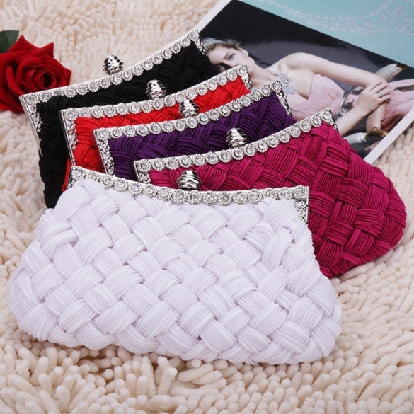New Fashion Women's Evening Bag Shining Rhinestone Handbag Shoulder Bag Clutch Bag with Chain - Oh Yours Fashion - 1