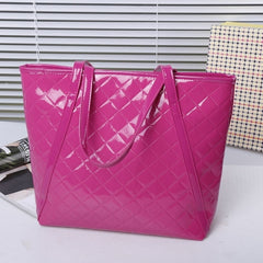 New Fashion Women's Girl Plaid Synthetic Leather Handbag Shoulder Bag - Oh Yours Fashion - 4