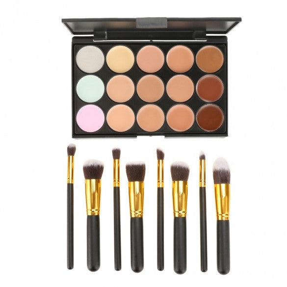 Fashion 15 Colors Contour Face Cream Makeup Concealer Palette With 8pcs Powder Brushes - Oh Yours Fashion