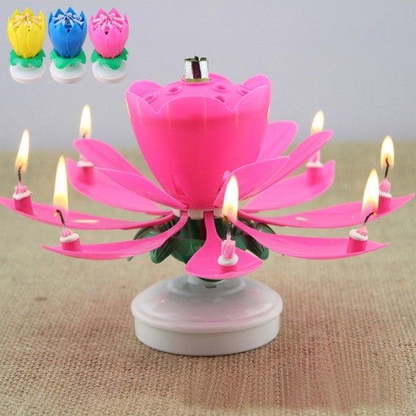 Romantic Musical Flower Rotating Happy Birthday Candle Party Surprise Gift Light - Oh Yours Fashion - 1