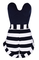Stripe Strapless Off Shoulder Short Jumpsuit - Oh Yours Fashion - 5