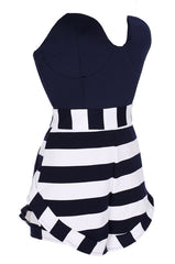 Stripe Strapless Off Shoulder Short Jumpsuit - Oh Yours Fashion - 6