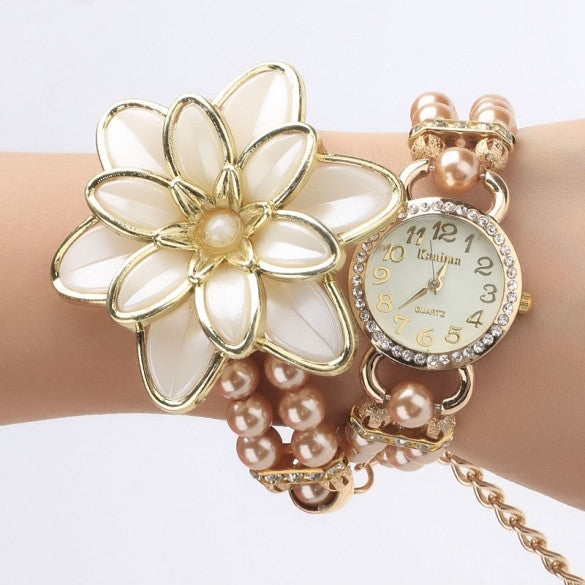 Beads Flower Wrap Bracelet Quartz Wristwatches Watch - Oh Yours Fashion - 2