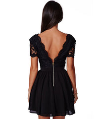 Deep V-neck V-back Backless Lace Little Black Dress - Oh Yours Fashion - 4