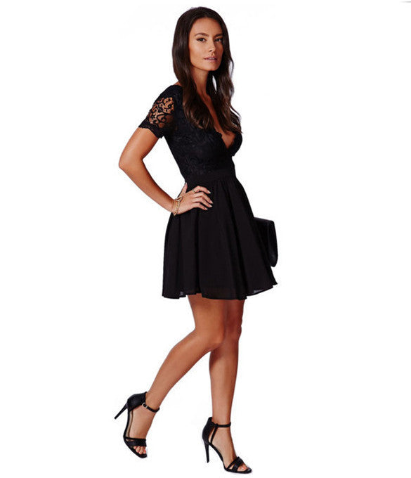 Deep V-neck V-back Backless Lace Little Black Dress - Oh Yours Fashion - 5