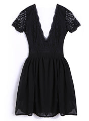 Deep V-neck V-back Backless Lace Little Black Dress - Oh Yours Fashion - 6