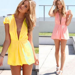 Deep V-Neck Short Sleeve Club Chiffon Short Jumpsuit - O Yours Fashion - 4