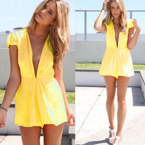 Deep V-Neck Short Sleeve Club Chiffon Short Jumpsuit