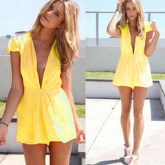 Deep V-Neck Short Sleeve Club Chiffon Short Jumpsuit - O Yours Fashion - 1