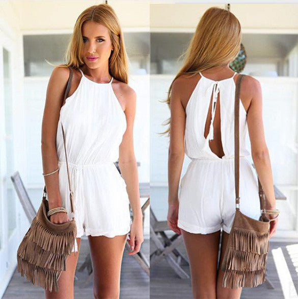 Drawstring Waist Jumpsuit Solid Classic Crimping Jumpsuit - O Yours Fashion - 3