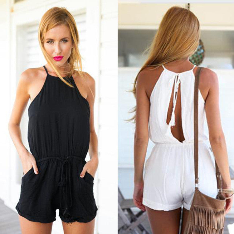 Drawstring Waist Jumpsuit Solid Classic Crimping Jumpsuit - O Yours Fashion - 4
