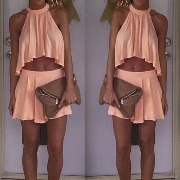Mini Halter Chiffon Crop Top Short Skirt Two Piece Dress Suit - Meet Yours Fashion - 1