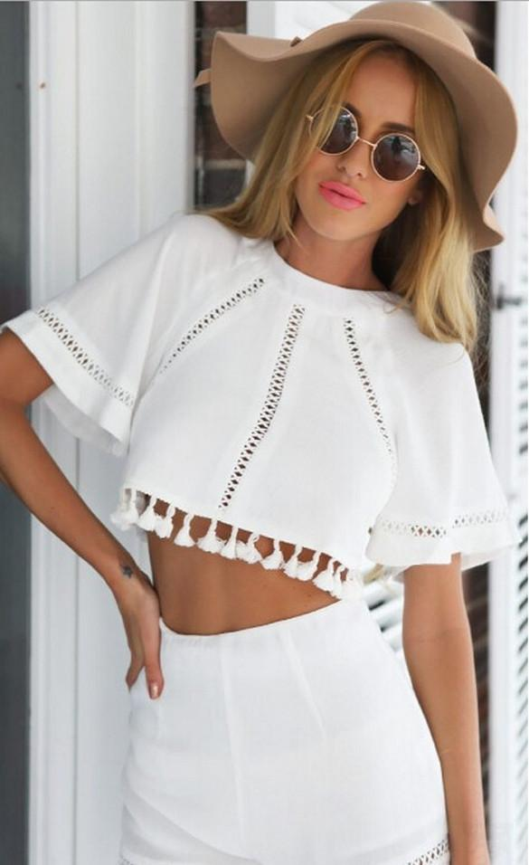 Short Sleeve Hollow Out Crop Top High Waist Slim Shorts Two Piece Set - Meet Yours Fashion - 3