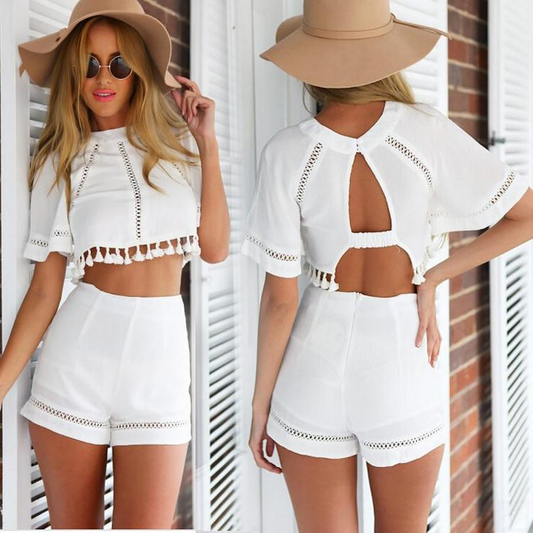 Short Sleeve Hollow Out Crop Top High Waist Slim Shorts Two Piece Set - Meet Yours Fashion - 1