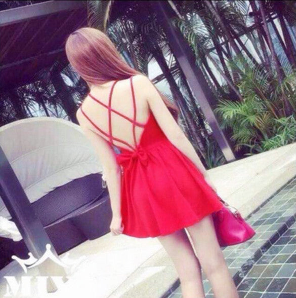 Backless Bow Tie Solid A-Line Strap Mini Dress - O Yours Fashion - 10