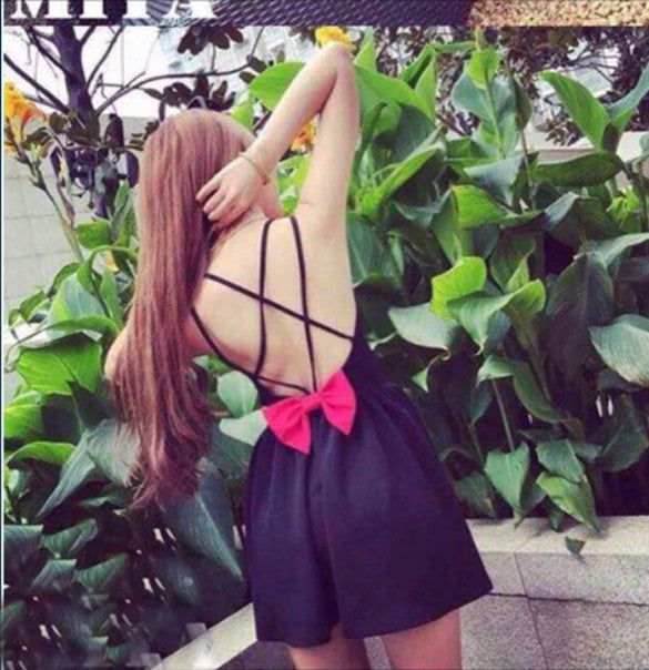 Backless Bow Tie Solid A-Line Strap Mini Dress - O Yours Fashion - 2
