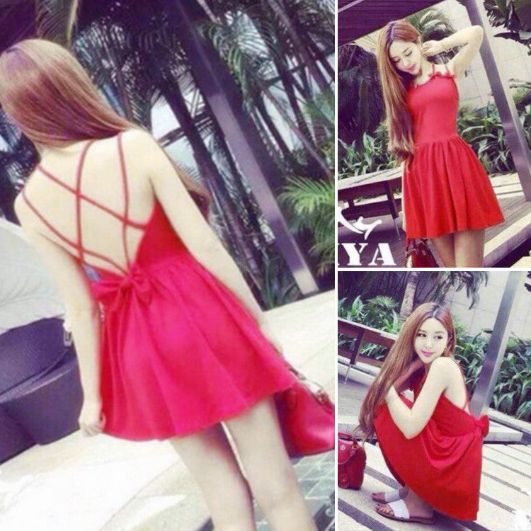Backless Bow Tie Solid A-Line Strap Mini Dress - O Yours Fashion - 7