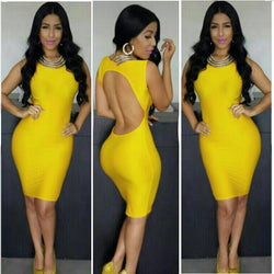 Backless Sleeveless O-Neck Slim Bodycon Dress - O Yours Fashion - 1