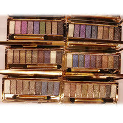 Women 9 Colors Waterproof Makeup Glitter Eyeshadow Palette with Brush - Oh Yours Fashion - 3