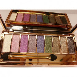 Women 9 Colors Waterproof Makeup Glitter Eyeshadow Palette with Brush - Oh Yours Fashion - 2