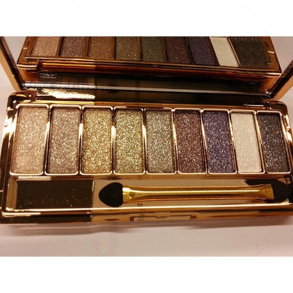 Women 9 Colors Waterproof Makeup Glitter Eyeshadow Palette with Brush - Oh Yours Fashion - 5