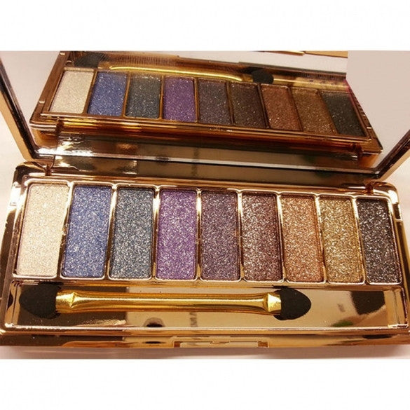 Women 9 Colors Waterproof Makeup Glitter Eyeshadow Palette with Brush - Oh Yours Fashion - 6