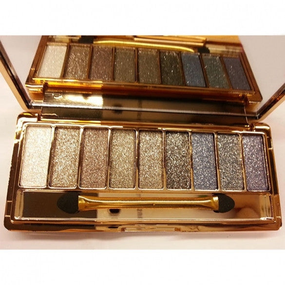 Women 9 Colors Waterproof Makeup Glitter Eyeshadow Palette with Brush - Oh Yours Fashion - 7