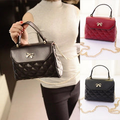 Hot Fashion Women Synthetic Leather Plaid Flap Bag Hasp Closure Shoulder Bag Casual Party Small Handbag - Oh Yours Fashion - 3