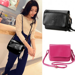 New Korean Fashion Women's Synthetic Leather Tassel Small Size Cross Shoulder Bag - Oh Yours Fashion - 1
