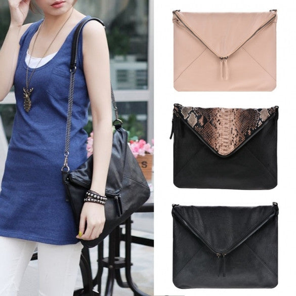 New Women Faux Leather Cool Personality Envelope Clutch Bag Messenger Bag Shoulder Bag - Oh Yours Fashion - 1