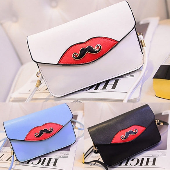 New Fashion Women Synthetic Leather Mustache Decorated Shoulder Bag Clutch Bag - Oh Yours Fashion - 1