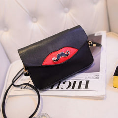 New Fashion Women Synthetic Leather Mustache Decorated Shoulder Bag Clutch Bag - Oh Yours Fashion - 2