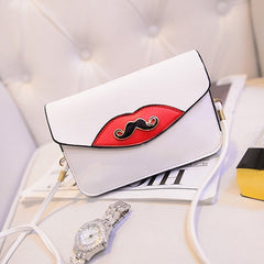 New Fashion Women Synthetic Leather Mustache Decorated Shoulder Bag Clutch Bag - Oh Yours Fashion - 4