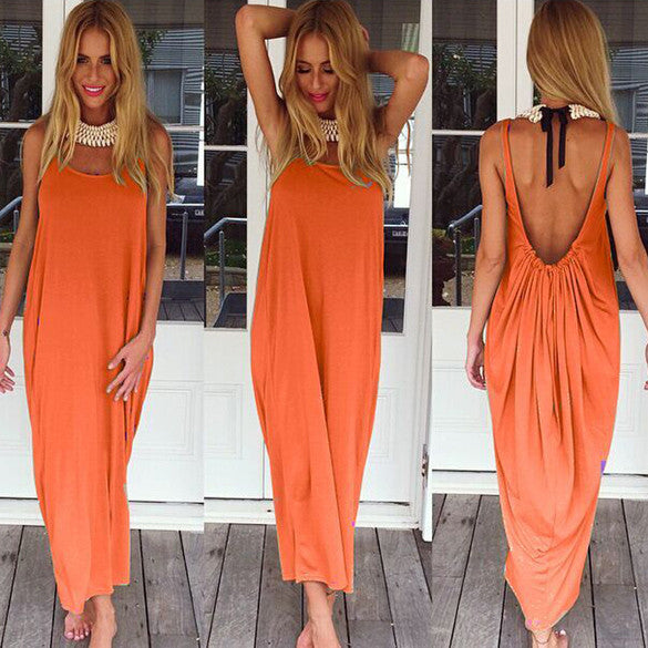 Women Casual Sleeveless Backless Long Dress - Oh Yours Fashion - 1