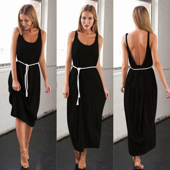 Women Casual Sleeveless Backless Long Dress - Oh Yours Fashion - 5
