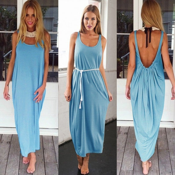Women Casual Sleeveless Backless Long Dress - Oh Yours Fashion - 3
