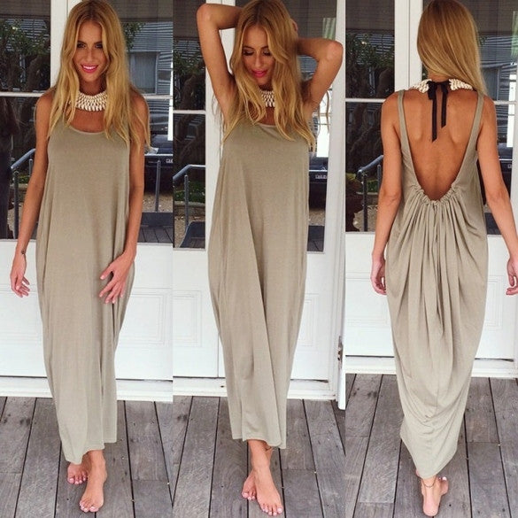 Women Casual Sleeveless Backless Long Dress - Oh Yours Fashion - 4