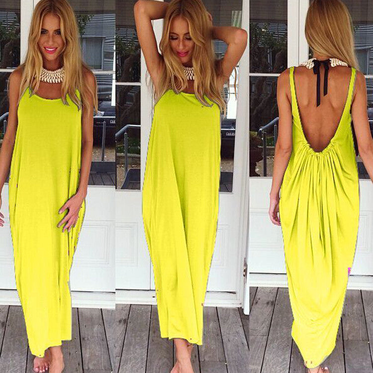 Women Casual Sleeveless Backless Long Dress - Oh Yours Fashion - 6