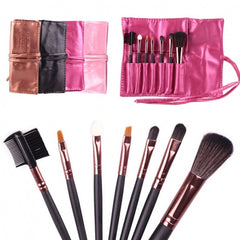 Hot Sale 7 Pieces Travel Makeup Brush With Faux Leather Roll Pouch Bag - Oh Yours Fashion - 2