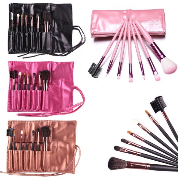 Hot Sale 7 Pieces Travel Makeup Brush With Faux Leather Roll Pouch Bag - Oh Yours Fashion - 1