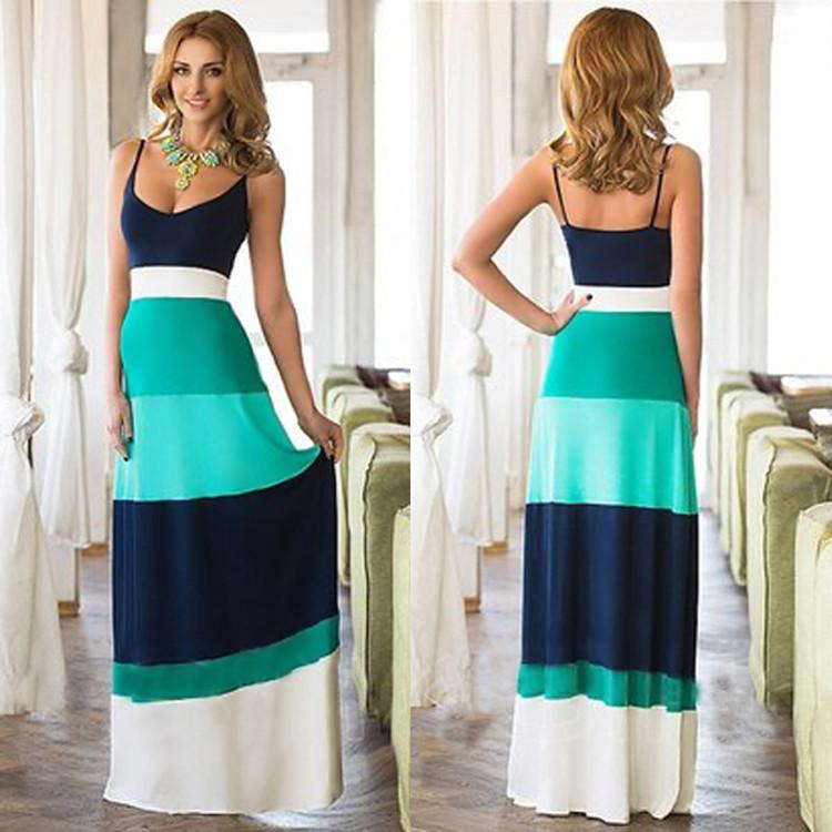Women Sleeveless Backless Contrast Color LongDress - MeetYoursFashion - 1