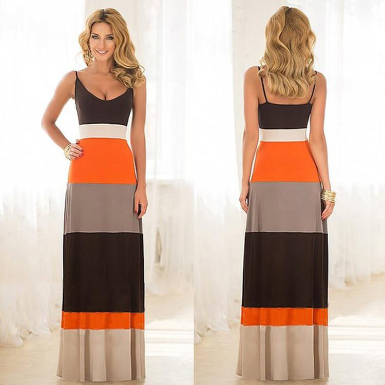 Women Sleeveless Backless Contrast Color LongDress - MeetYoursFashion - 3