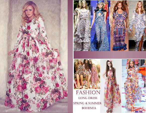 Women Casual Floral Printed Long Sleeve Long Dress - MeetYoursFashion - 3