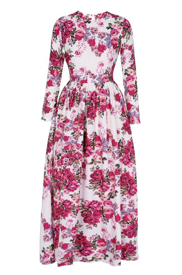 Women Casual Floral Printed Long Sleeve Long Dress - MeetYoursFashion - 4
