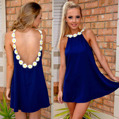 Backless Loose Chiffon A-line Short Dress - O Yours Fashion - 1