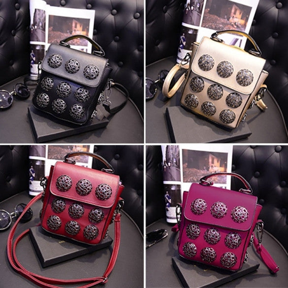 New Fashion Women Synthetic Leather Hollow Out Button Decorated Handbag/Shoulder Bag/Messenger Bag - Oh Yours Fashion - 1